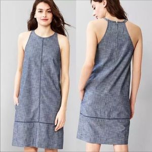 Gap chambray high neck dress embroidered detail